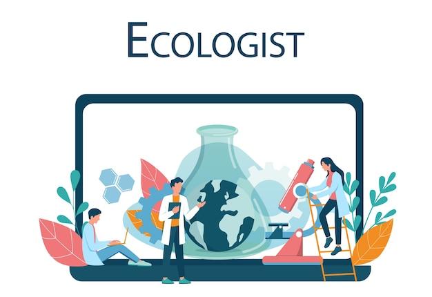 Ökologe online-ressource auf web-gerät. satz wissenschaftler, der sich um ökologie und umwelt kümmert. luft-, boden- und wasserschutz. professioneller ökologischer aktivist. vektorillustration