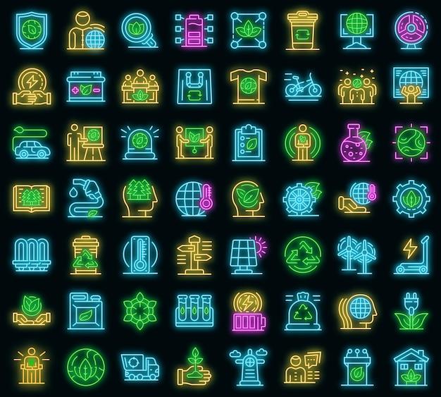 Ökologe-symbole gesetzt. umrisse von ökologen-vektorsymbolen neonfarbe auf schwarz