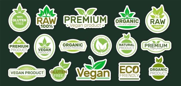 Ökologie-aufkleber mit slogans. veganer patch.