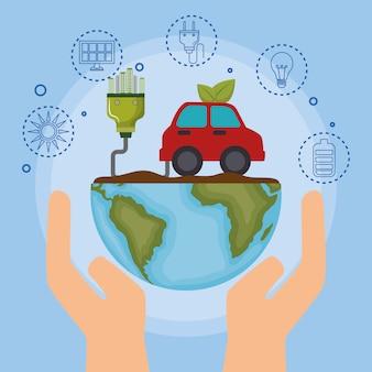 Ökologie auto fahrzeug symbole