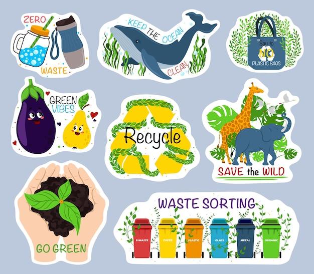 Ökologie bunte aufkleber kollektion trendige slogans um den planeten zu retten liebe unseren planeten mülltrennung...