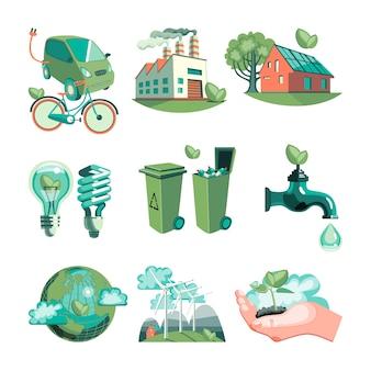 Ökologie-dekorative ikonen eingestellt