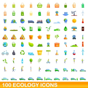 Ökologie-ikonen eingestellt. karikaturillustration der ökologieikonen stellte auf weißen hintergrund ein