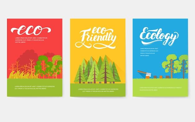 Ökologie-informationskarten-set. ökologische vorlage von flyear, zeitschriften, plakaten, buchumschlag, banner.