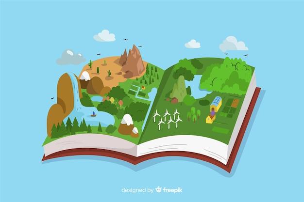 Ökologie-konzept. offenes buch mit einer wunderschönen illustrierten landschaft