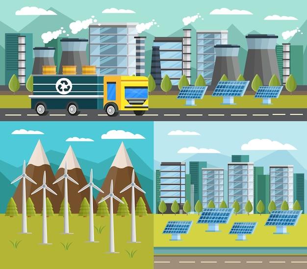 Ökologie orthogonale illustration set