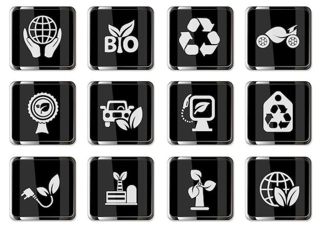 Ökologie-piktogramme in schwarzen chromknöpfen. icon-set für das design der benutzeroberfläche