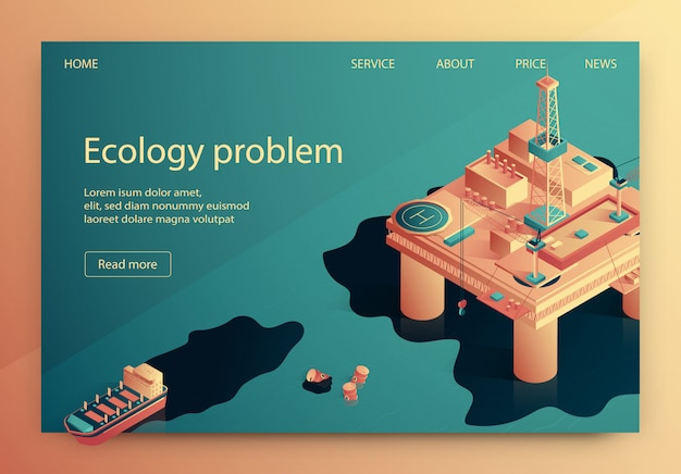 Ökologie-problem-vektor-illustration isometrisch.