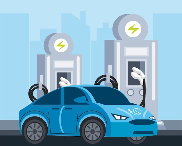 Ökologie service-illustration der elektrofahrzeugstationspumpe