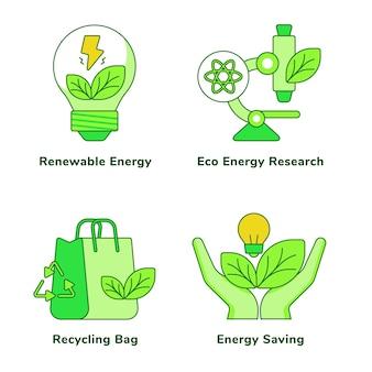 Ökologie-set der öko-energieforschung für erneuerbare energien