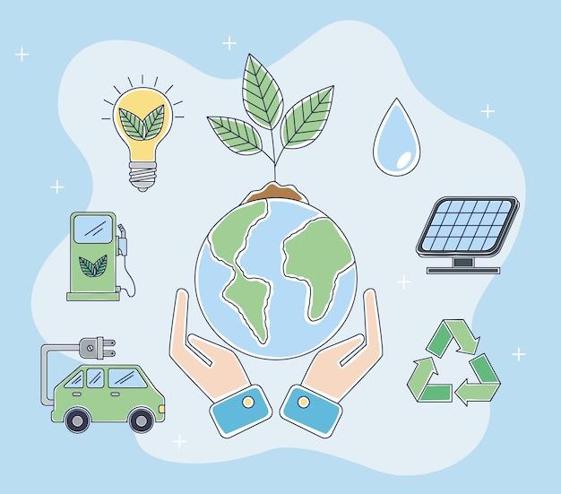 Ökologie-symbole und planet