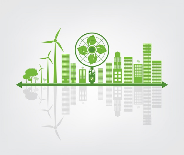 Ökologie- und umweltkonzept, erdsymbol mit grünen blättern um städte helfen der welt mit umweltfreundlichen ideen