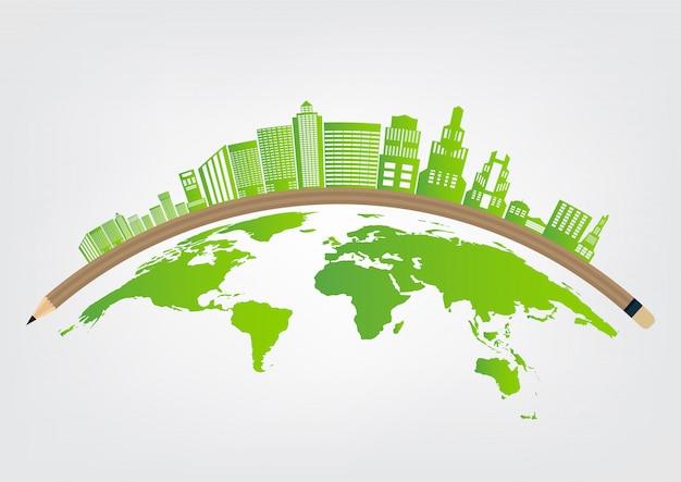 Ökologie und umweltkonzept, erdsymbol mit grünen blättern um städte