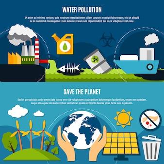 Ökologie und umweltverschmutzung banner set