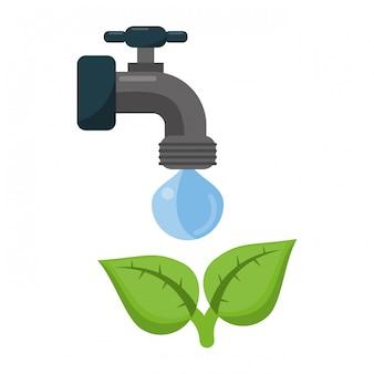 ökologie wasserhahn mit wasser