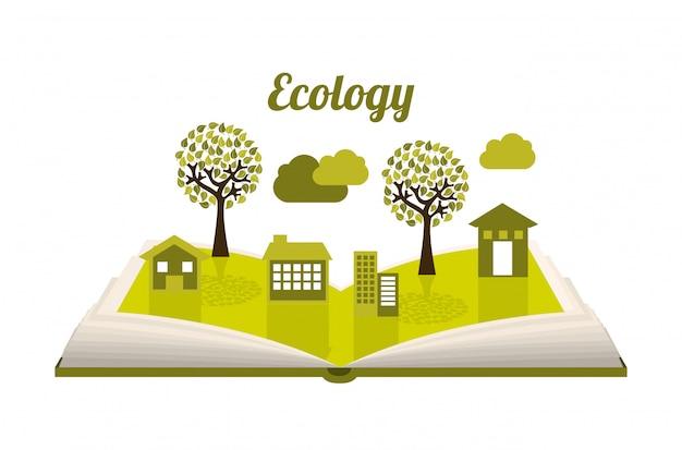Ökologiedesign über weißer hintergrundvektorillustration