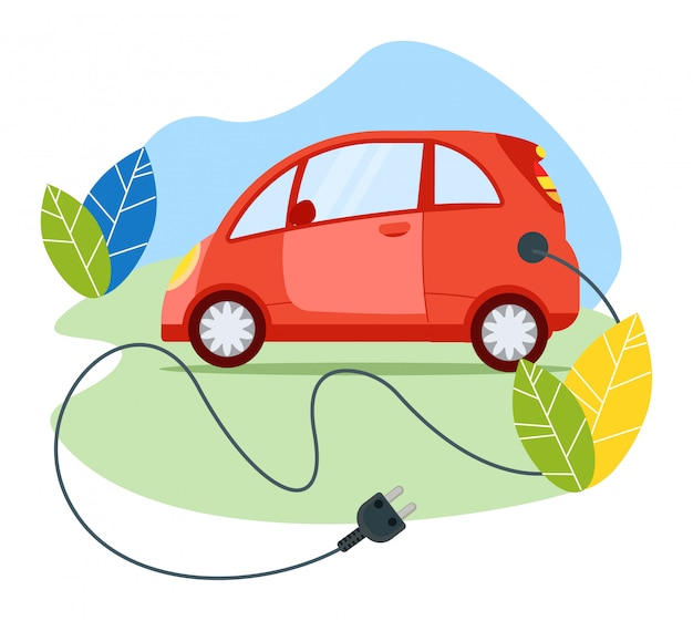 Ökologiefreundliches modernes transportfahrzeug des elektroautos, roter personenkraftwagen mit kabelstecker auf weiß, illustration.