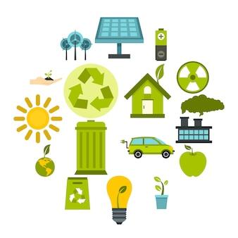 Ökologieikonen eingestellt in flache art. umwelt, wiederverwertung, erneuerbare energie, naturelementsatz-sammlungsvektorillustration