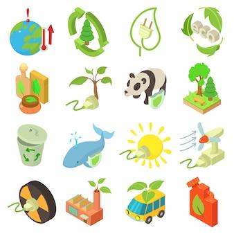 Ökologieikonen eingestellt. isometrische illustration von 16 ökologievektorikonen für netz