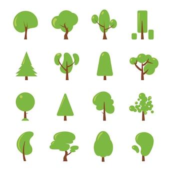 Ökologieillustrationen eingestellt. flache bilder des grünen baumes. pflanzen sie wald, umweltsammlungsvektor
