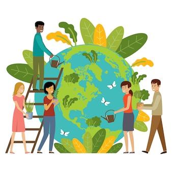 Ökologiekonzept. die leute kümmern sich um den planeten. beschütze die natur. tag der erde. globus mit pflanzen und freiwilligen