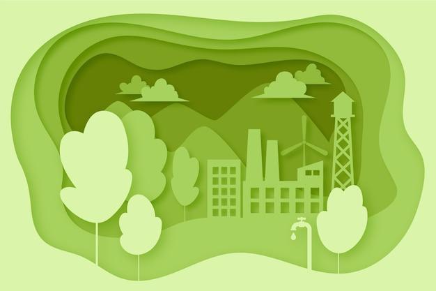 Ökologiekonzept im papierstil mit bäumen und gebäuden