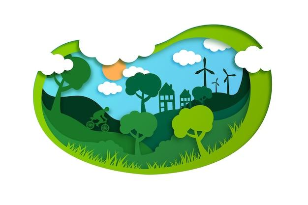 Ökologiekonzept im papierstil mit bäumen