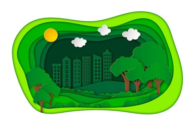 Ökologiekonzept im papierstil mit stadt