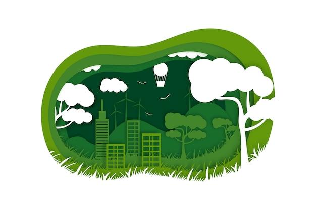 Ökologiekonzept im papierstil