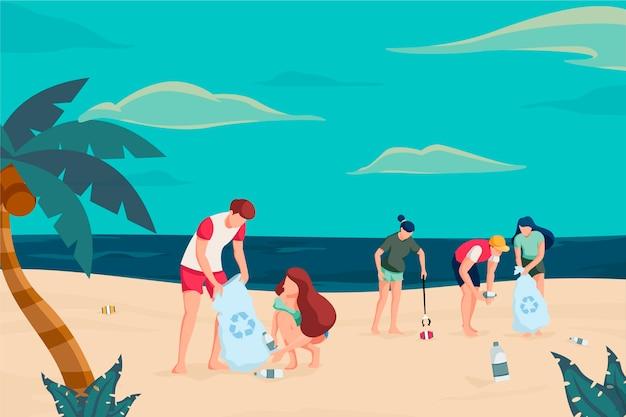 Ökologiekonzept mit den leuten, die flaschen sammeln