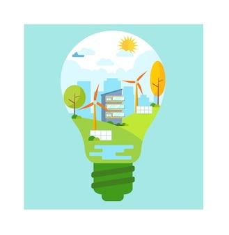 Ökologiekonzept und vektorillustration der sauberen energie