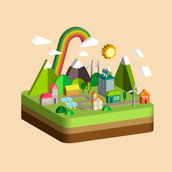 Ökologiestadtlandschaftskonzept im isometrischen flachen 3d-design