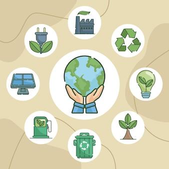 Ökologiesymbole rund um den planeten