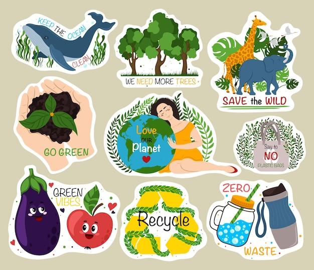 Ökologische aufkleber sammlung von öko-aufklebern mit slogans