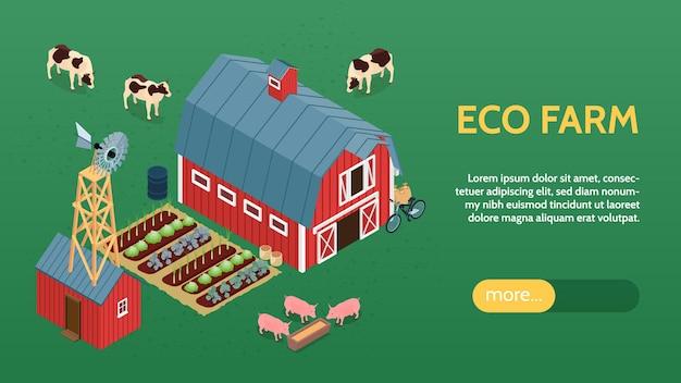 Ökologische bio-landwirtschaft online-öko-bauernhof isometrische website-banner mit scheunen-windmühlen-viehgemüse