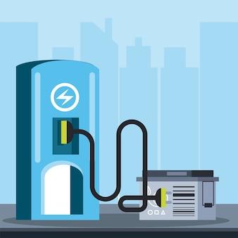 Ökologische elektrische kraftstoffpumpenbatterie für fahrzeugillustration