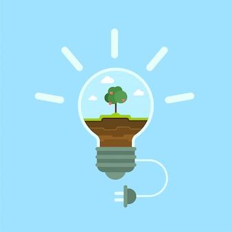 Ökologische grüne alternative öko-energiekonzept flache illustration. grünes gras und apfelbaum innerhalb des netzkabelsteckers der glühbirnenlampe.