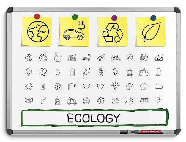 Ökologische handzeichnungslinienikonen. doodle piktogramm gesetzt. skizze zeichen illustration auf weißem marker board mit papieraufklebern. energie, umweltfreundlich, umwelt, baum, grün, recycling, bio, sauber