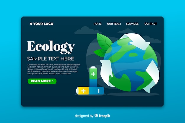 Ökologische landingpage basierend auf recycling