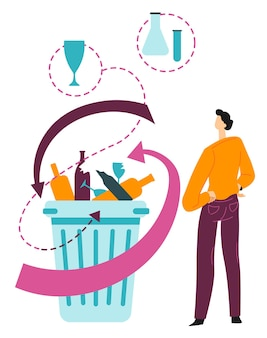 Ökologische probleme beim recycling von glasabfällen. umweltprobleme, müll im container. ökologie und naturschutz, verschmutzung mit müll, vektor in flacher illustration