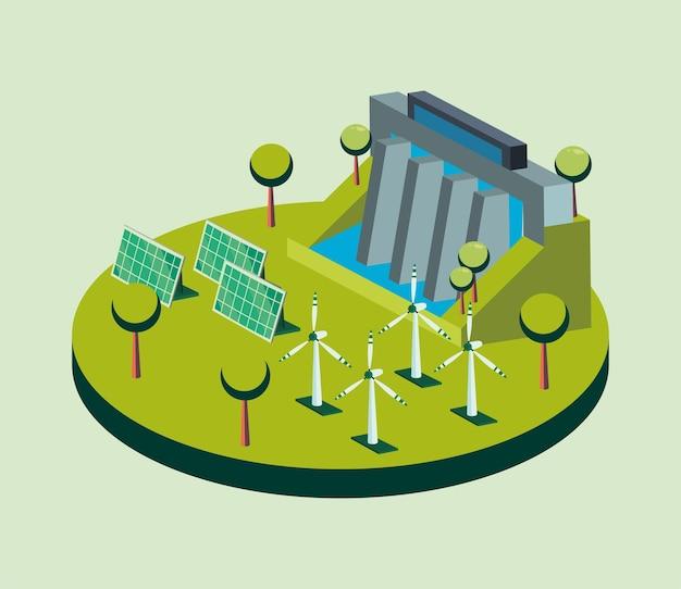 Ökologische staudämme sonnenkollektoren und windmühlen isometrisches design, energie sparen öko nachhaltig und umweltthema Premium Vektoren