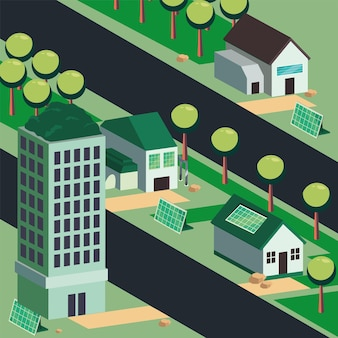 Ökologische systemstadt mit häusern