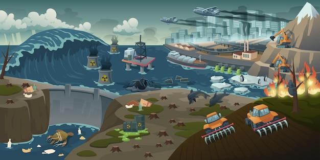 Ökologische verschmutzung, entwaldung, waldbrand, globales problem der entwaldung