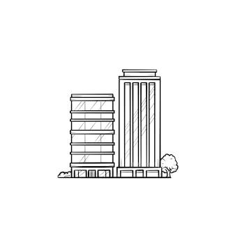 Ökologische wohngebäude hand gezeichnete umriss-doodle-symbol. moderne wohnanlage mit bäumen drumherum als grüne wohntechnik und ökologisches reinraumkonzept