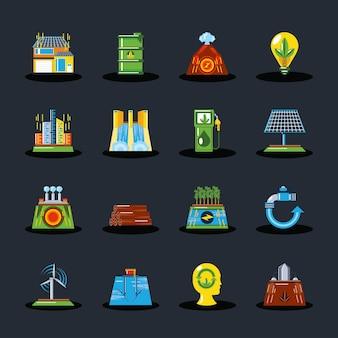 Ökologischer generator der erneuerbaren energie, illustration der grünen energiekonzeptikonen