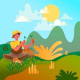 Ökologischer landbau-konzept dargestellt