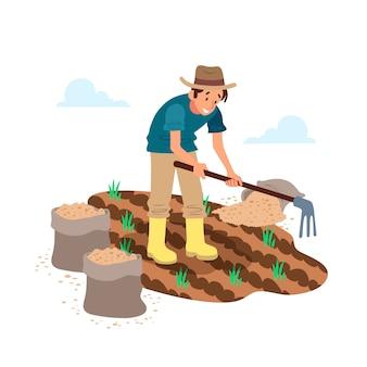 Ökologischer landbau mit mann auf feld