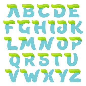 Ökologisches alphabet mit grünem blatt.