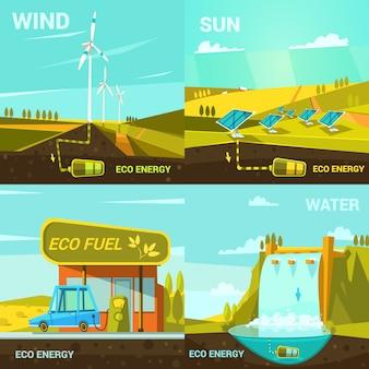 Ökologisches energiekonzept stellte mit retro- karikaturwindsonne- und -wasserkraftelementen ein