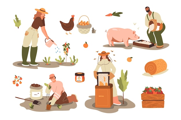 Ökologisches landwirtschaftskonzept für ökologisches leben